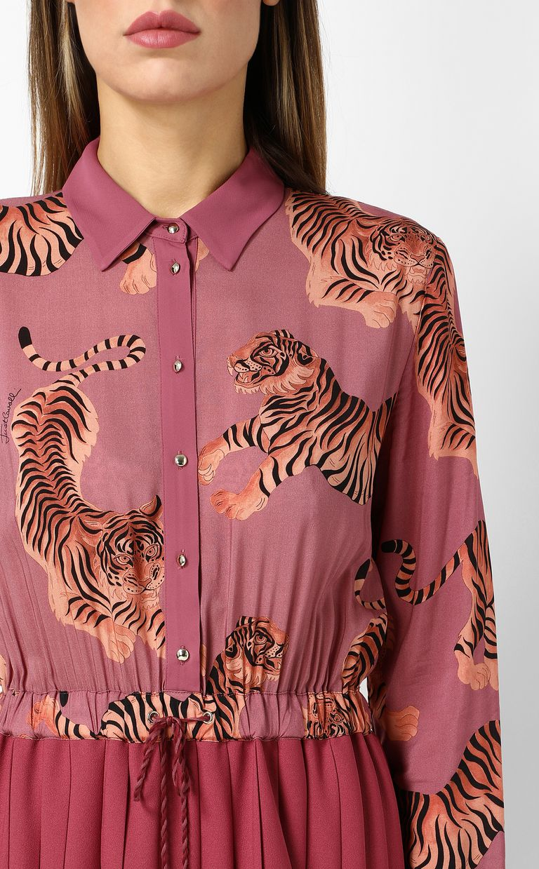 """JUST CAVALLI Pleated """"Chasing-Tiger"""" print dress Dress Woman e"""