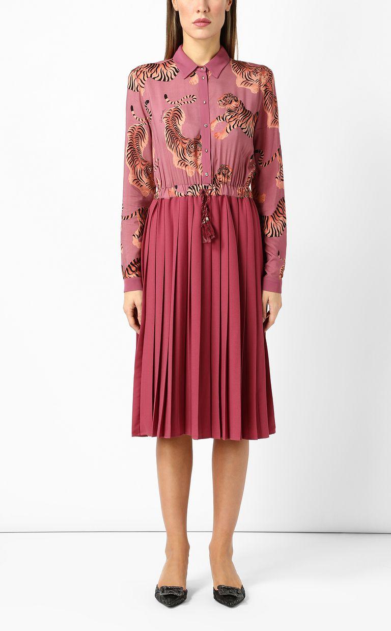 """JUST CAVALLI Pleated """"Chasing-Tiger"""" print dress Dress Woman r"""