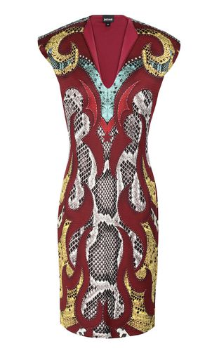 "JUST CAVALLI Short dress Woman Dress with ""Sprayed Cow"" print f"