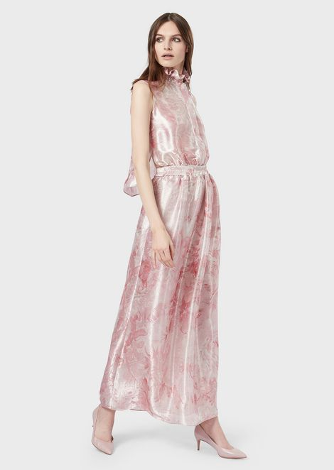 f7a1910a696 Long dress in printed floral jacquard fabric