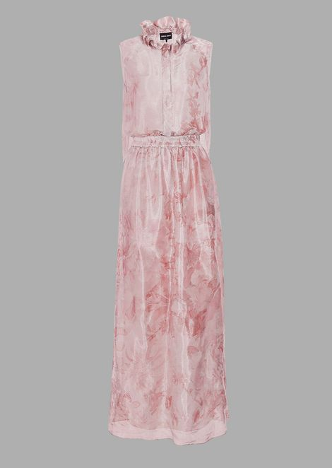 Long dress in printed floral jacquard fabric