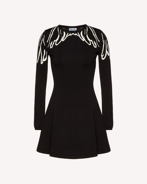REDValentino Wings jacquard stretch viscose knit dress