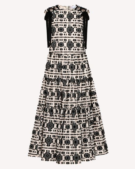 Graphic flowers fil coupé jacquard dress