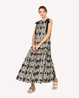 REDValentino Graphic flowers fil coupé jacquard dress