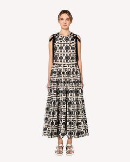 REDValentino Kleid mit Jacquard Fil-Coupé-Gewebe mit grafischem, floralem Motiv