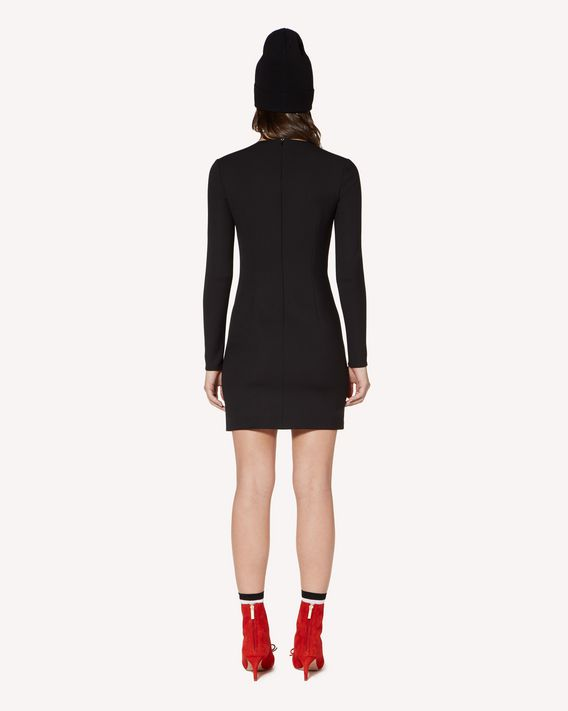 REDValentino Technical cady sheath dress with heart patch detail