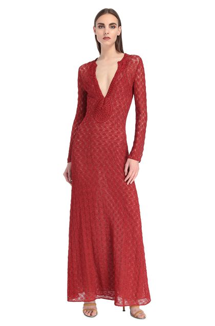 MISSONI Long dress Red Woman - Back