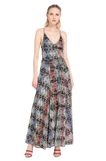MISSONI Long dress Blue Woman - Back