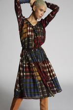 DSQUARED2 Cotton Silk Seersucker Check Patchwork Long Sleeved Dress Dress Woman