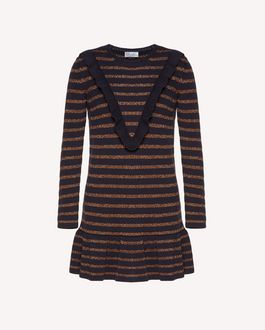REDValentino Ruffle detail cotton lurex knit dress
