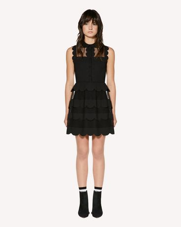 REDValentino Technical cady and point d'esprit tulle dress with scallop detail