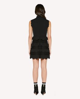 REDValentino Scallop detail cady tech and point d'Esprit tulle dress