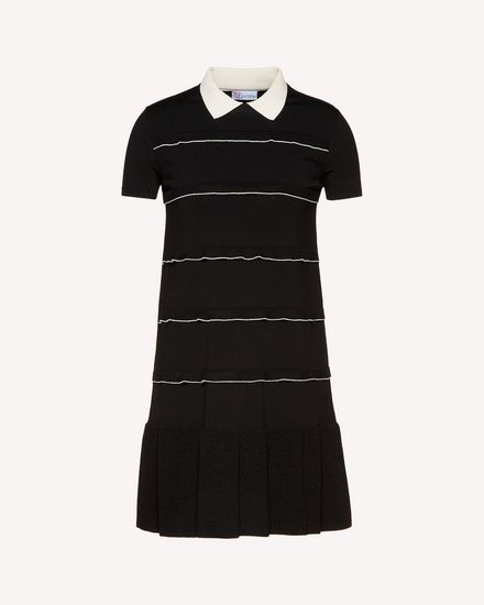 Elasticated-viscose dress with ruffle detail