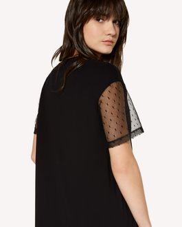 REDValentino T-shirt dress with point d'Esprit tulle