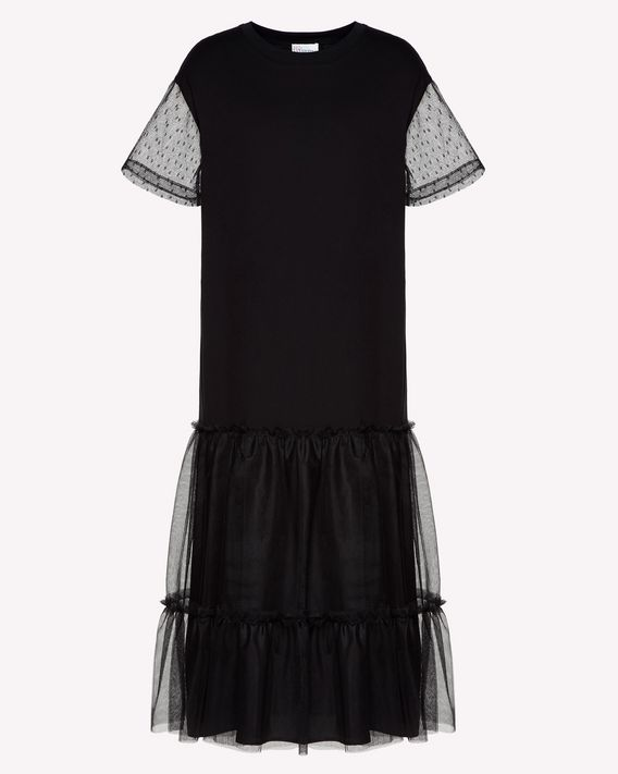 REDValentino T-shirt dress with tulle point d'esprit