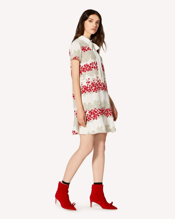 REDValentino Marocain dress with Dreaming Peony print and collar detail
