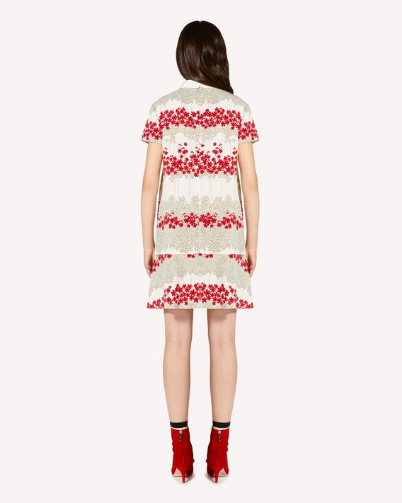 REDValentino Dreaming Peony printed marocaine dress with collar detail