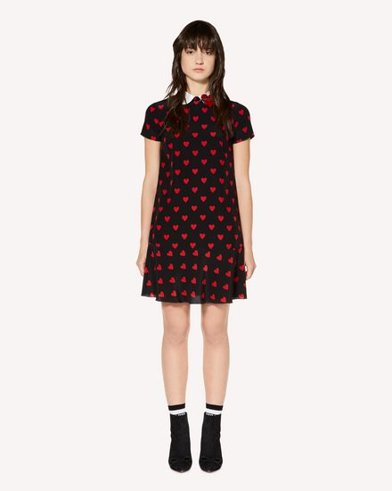 Heart printed silk dress with heart patch detail