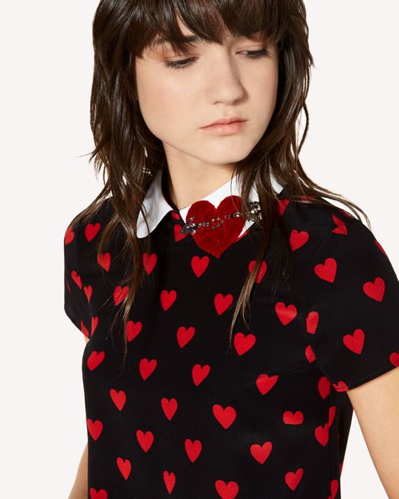 REDValentino Heart printed silk dress with heart patch detail