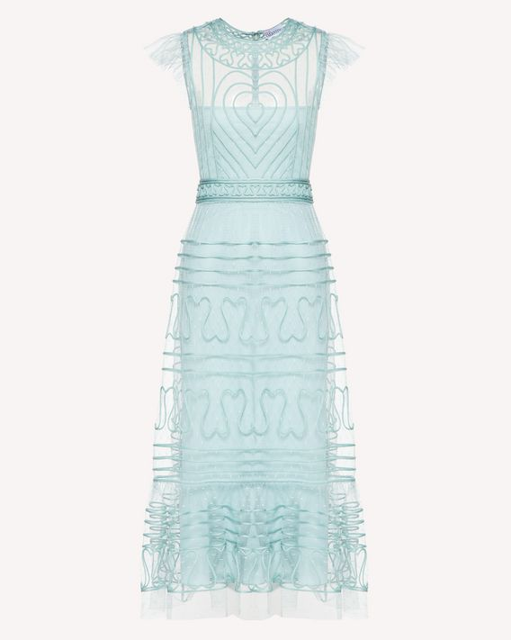 REDValentino Point d'Esprit Tulle dress with tubular embroidery