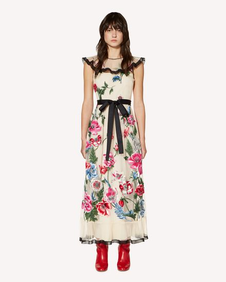 Poppy flowers embroidered tulle dress
