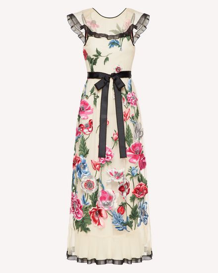 罂粟花刺绣薄纱连衣裙