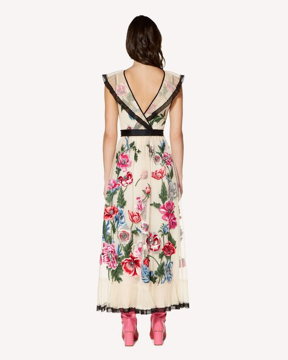 REDValentino Poppy flowers embroidered tulle dress