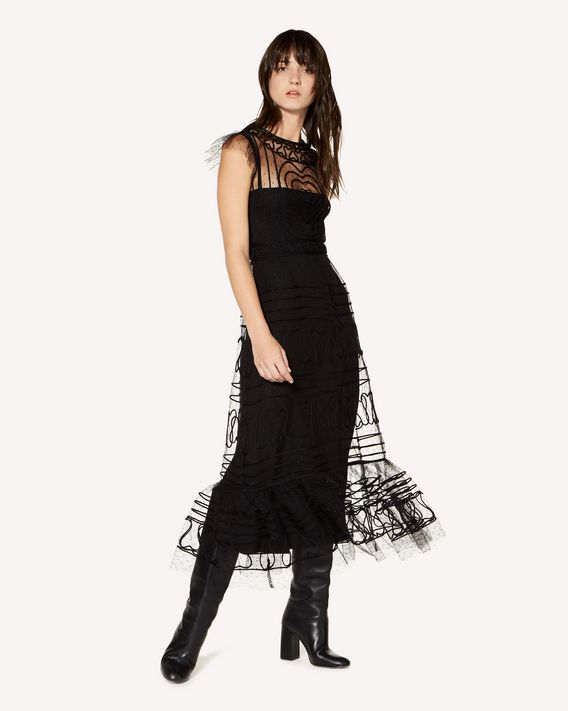 REDValentino Tulle point d'esprit dress with tubular embroidery
