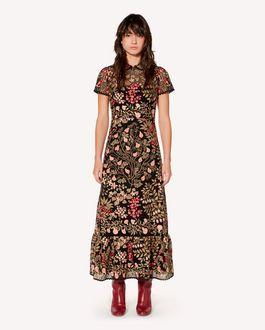 REDValentino Floral vines macramé embroidered dress