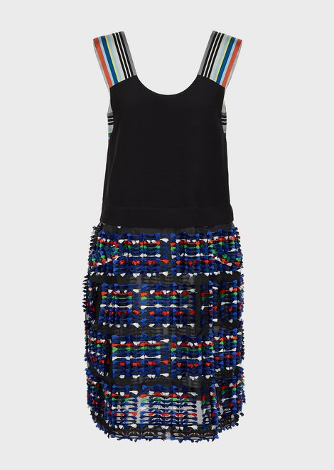 Silk crepe dress with striped shoulder straps and tweed-effect skirt