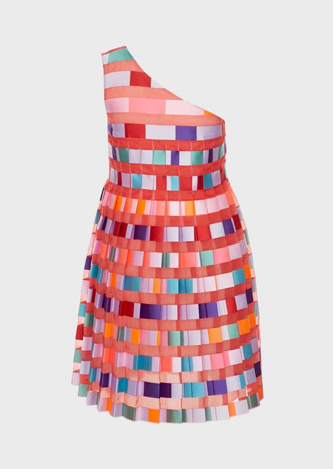 One shoulder dress in pekin