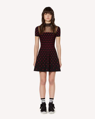 REDValentino Elasticated-viscose dress with Heart jacquard