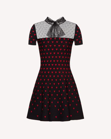 Hearts jacquard stretch viscose knit dress