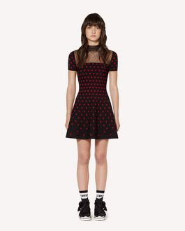 REDValentino Hearts jacquard stretch viscose knit dress