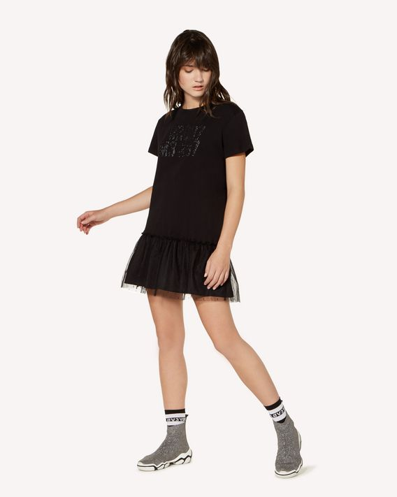 "REDValentino ""Forget Me Not""  glitter printed  T-shirt dress"