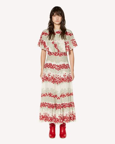 REDValentino Silk dress with Dreaming Peony print and ruffle detailing