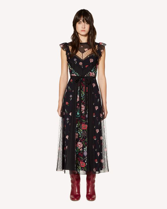 REDValentino Cherry Blossom printed muslin dress with inserts