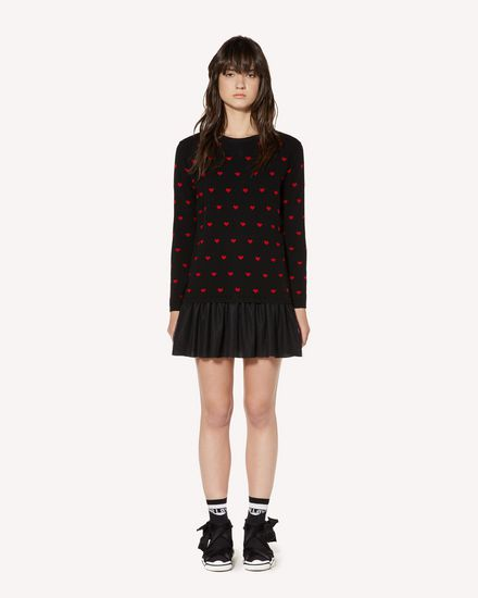 Hearts jacquard wool blend knit dress