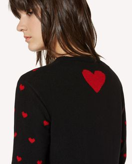 REDValentino Hearts jacquard wool blend knit dress