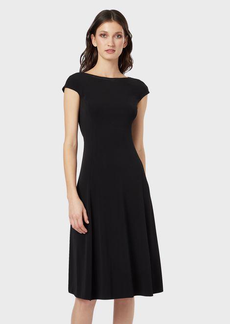 Scoop-backed dress in viscose Interlock