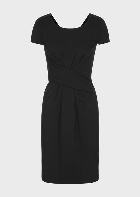 Milano stitch fabric dress with darts at the waist