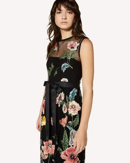 REDValentino Poppy flowers embroidered macramé dress