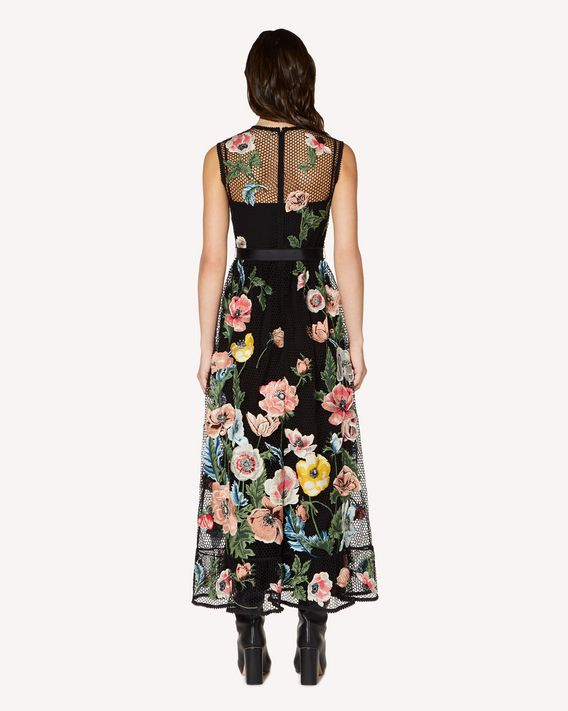 REDValentino Macramé dress with poppy embroidery