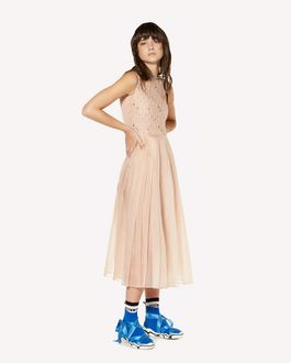 REDValentino Rhinestones embroidered silk organza dress
