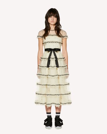 REDValentino Tulle point d'esprit dress with sequin embroidery.