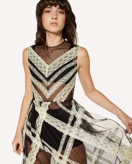 REDValentino Lace ribbons embroidered point d'Esprit tulle dress