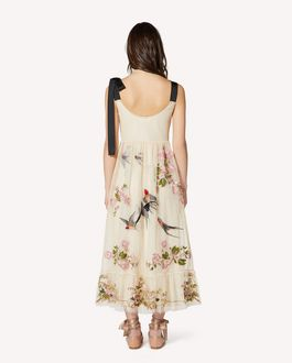 REDValentino Swallows and Flowers embroidered point d'esprit tulle dress