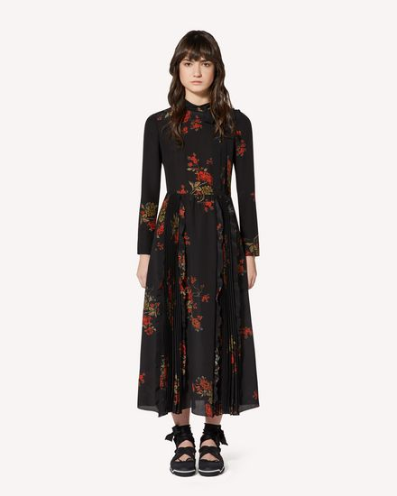 Oriental Flowers crepe de chine dress