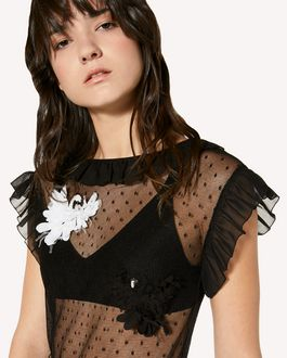 REDValentino Swan patches point d'Esprit tulle dress