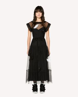 REDValentino Tulle point d'esprit dress with swan patch